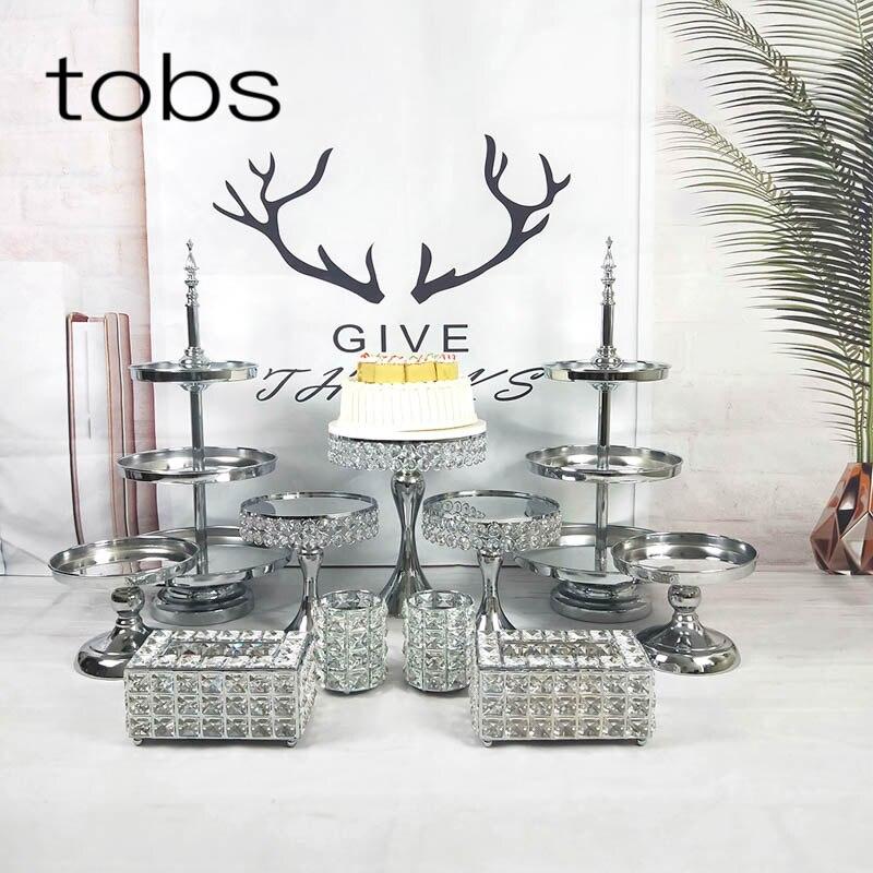 FFriday 2 3 niveaux bling de luxe décoration de mariage porte-gâteau miroir métal électroplaqué cupcake stand