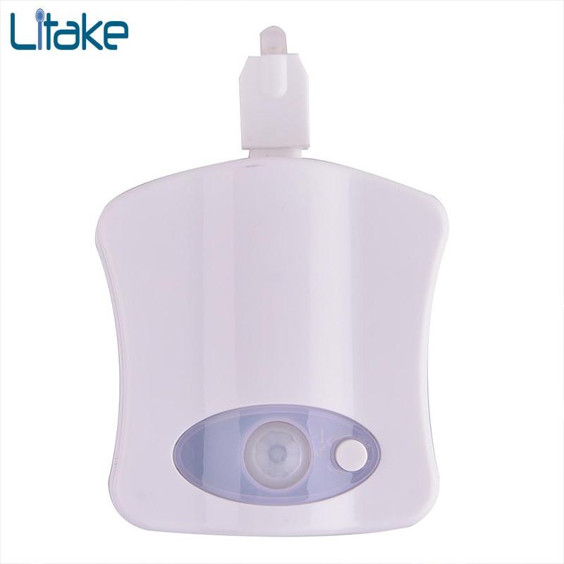 Litake hot Smart Bathroom Toilet Night light LED Motion Activated On/Off Seat Sensor Lamp 8 Color LED Toilet lamp 1x led night light lamps motion sensor nightlight pir intelligent led human body motion induction lamp energy saving lighting