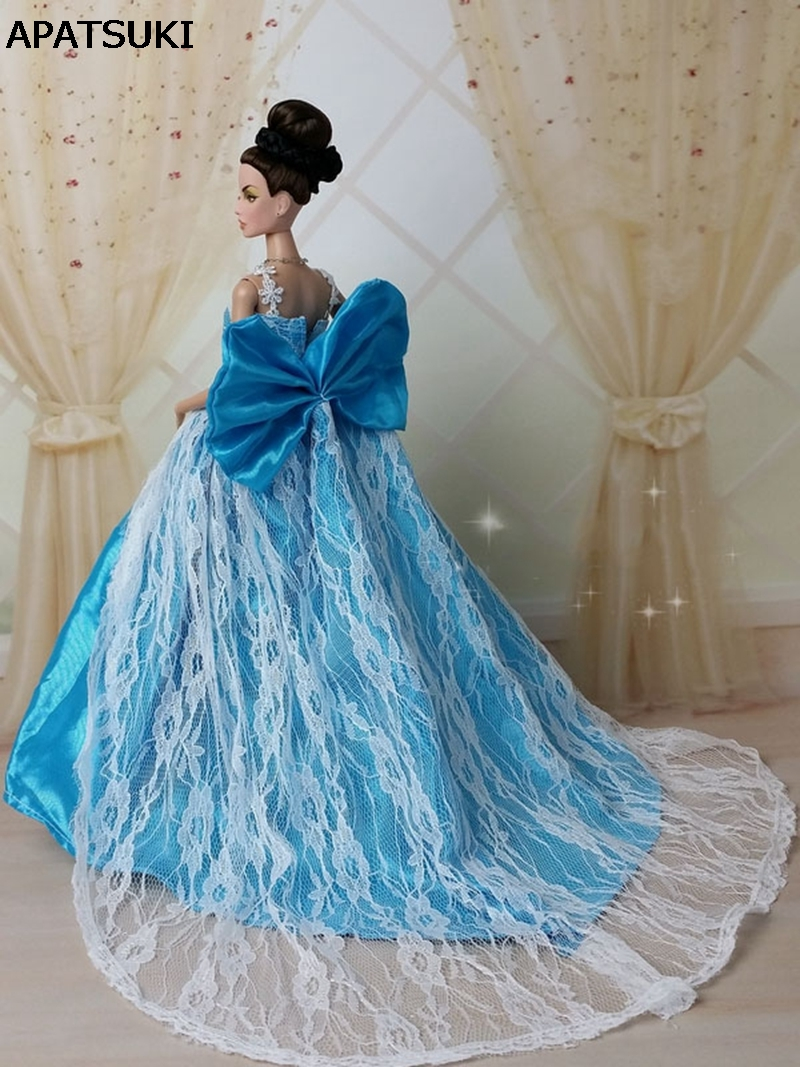 Blue Bowknot Lace Wedding Dress for Barbie Princess Doll 1:6 Evening ...