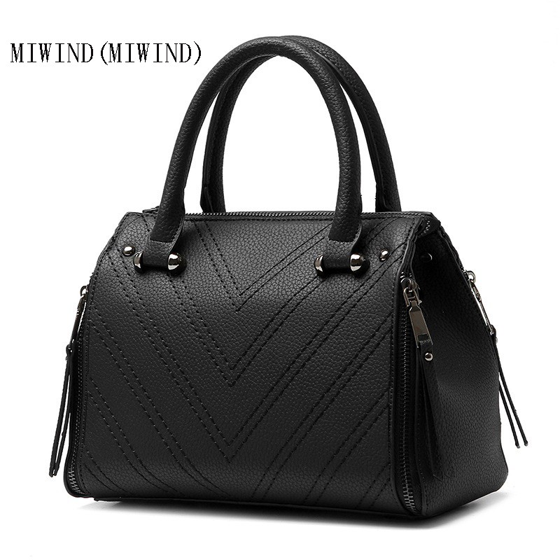 ФОТО MIWIND(MIWIND)The new 2017 bags of PU commuter bag shape fashion female bag worn one shoulder bag woman