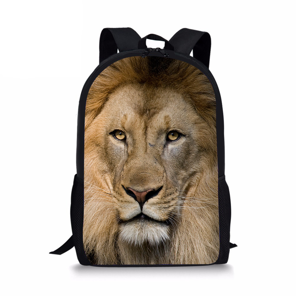 Chidren School Bags Lion Animal Print Primary School Backpack Orthopedic Satchel Bookbag Mochila Infantil Sac Enfant