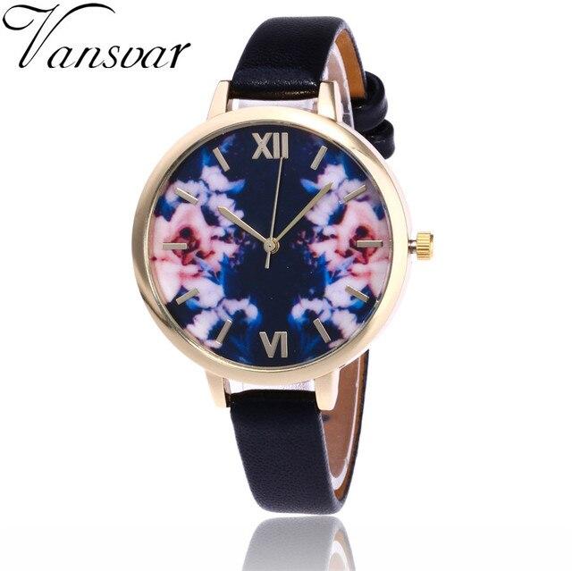 2d435c48ae1 Vansvar Marca de Moda Pulseira de Relógio Das Mulheres Relógio de Pulso  Flor Floral Jardim de