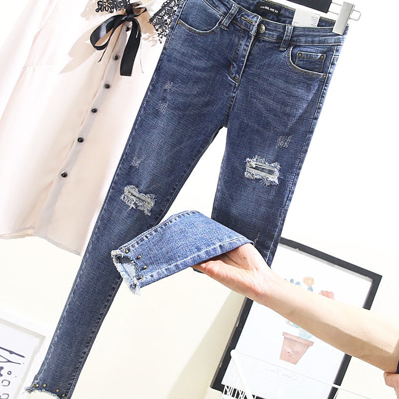4xl plus big size jeans panty women spring summer style autumn 2018 feminina hole stretch denim pencil pants female A4853
