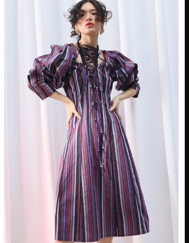 EAM 2019 New Spring Summer Strapless Long Lantern Sleeve Striped Printed Bandage Loose Dress Women