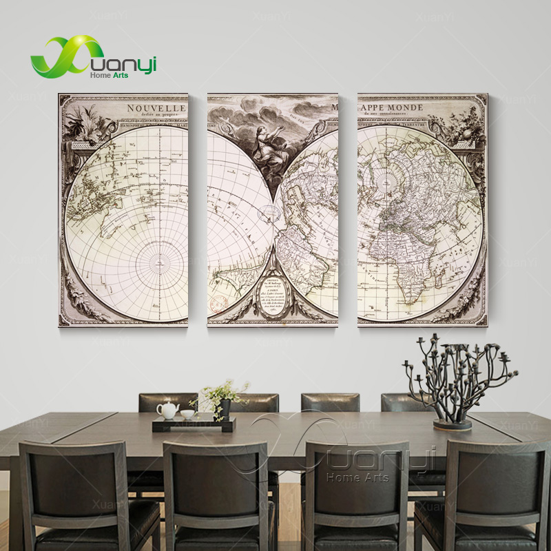 Aliexpress Com Buy Unframed 3 Panel Vintage World Map: 3 Piece Wall Art Retro Vintage World Map Picture Cuadros