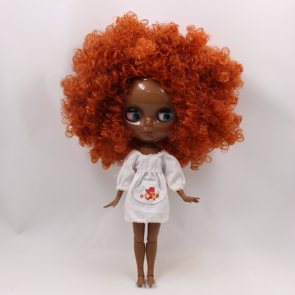 Neo Blythe Doll with Ginger Hair, Black skin, Shiny Face & Jointed Body 2