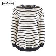 HYH Haoyihui 2019 Lazy Wind Round Neck Stripe Sleeve Fleece Female Thin Section Long Sleeve Korean Version Loose Top