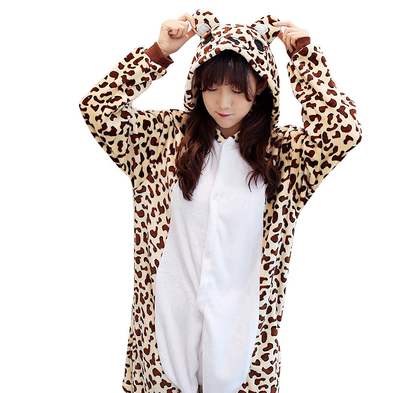 Kigurumi Leopard Pajama Adult Animal Onesies For Women Men Couple Winter Pajamas Kegurumi Sleepwear Flannel Pijamas Pyjama