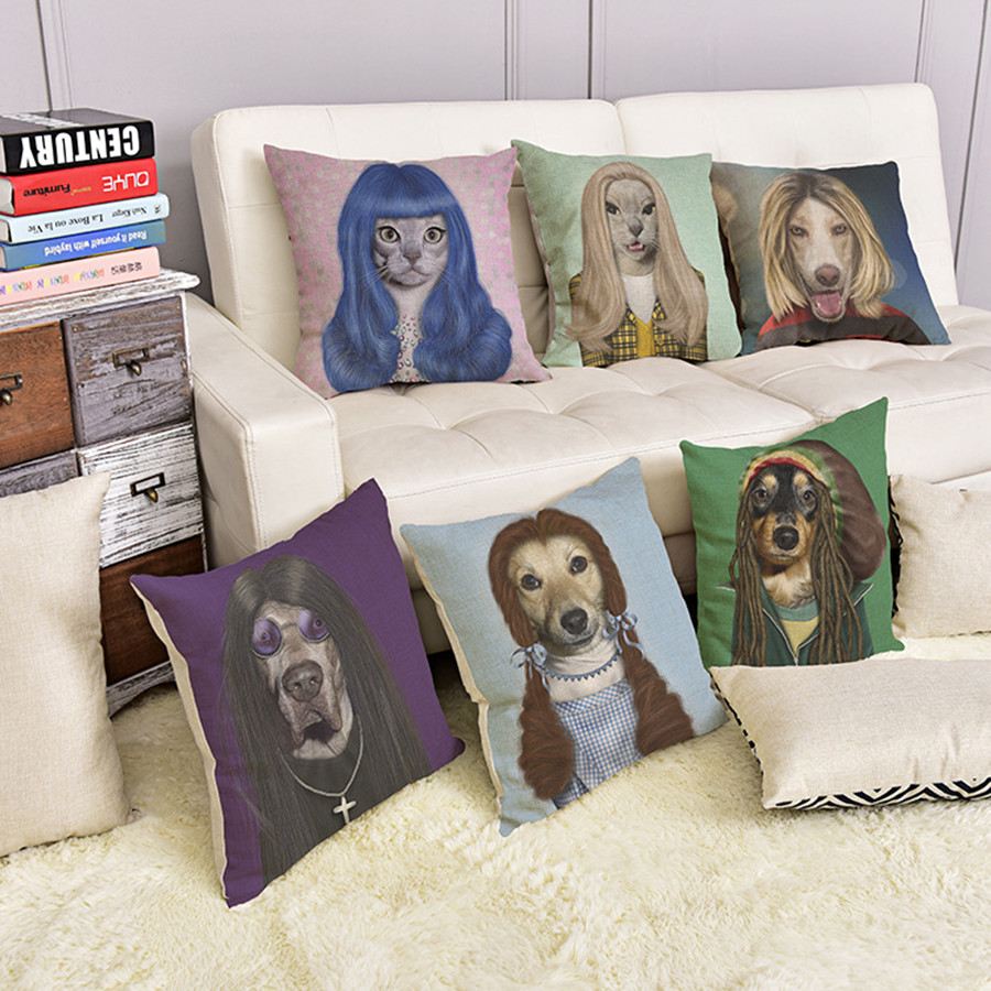 2016 1pcs 45cmX45cm European Style Hipster Dog And Cat Decorative Sofa Throw Cushion Car pillowcase Home Decor For Retail