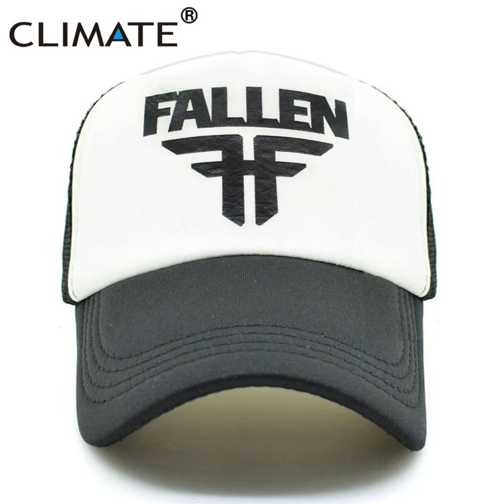 CLIMATE Men Women Cool Trucker Caps FALLEN Skateboard Fans Mesh Caps Cool Summer Baseball Mesh Net Trucker Skater Sport Caps Hat climate men summer black mesh caps star wars bounty hunter fans cool summer baseball cap black net trucker caps hat for men