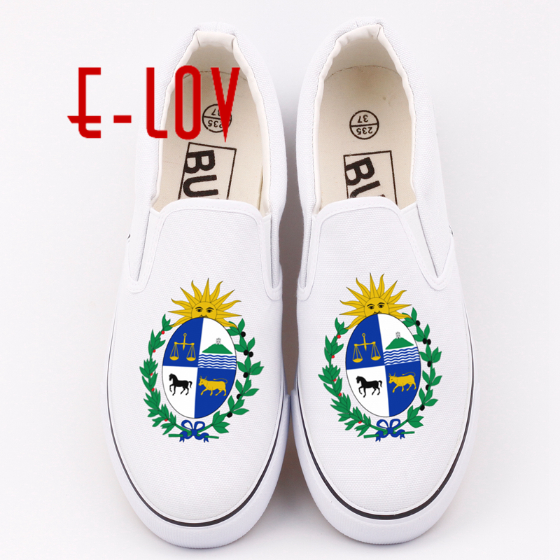 E-LOV Fashion Brand Uruguayan Canvas Shoes Plus Size DIY Printed Uruguay National Emblem Casual Loafers For Women e lov women casual walking shoes graffiti aries horoscope canvas shoe low top flat oxford shoes for couples lovers