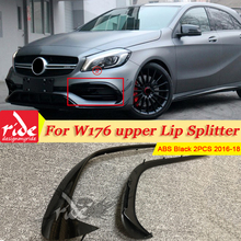 A-Class W176 Sport Front Bumper Lip Trim Splitter Canard Fin A45 Style 2-Pcs ABS Gloss Black For Mercedes A180 A200 A250 16-