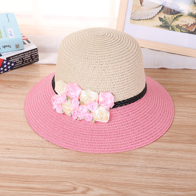 e1b04d4f 200PCS/LOT Queen Women Beach Foldable Hat Summer Wide Large Brim Beach Sun  Casual Ladies Bow Linen Hats