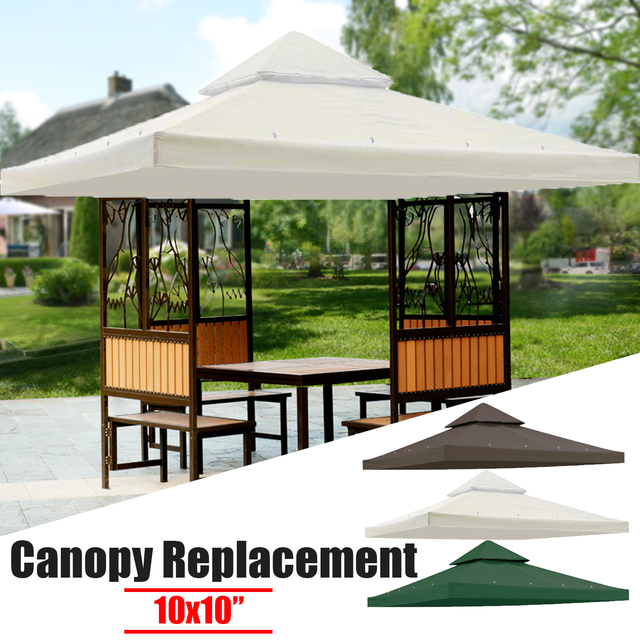 10x10 Gazebo Top Canopy Replacement Outdoor Courtyard Swimming Pool Triangles Sun Shade Sail