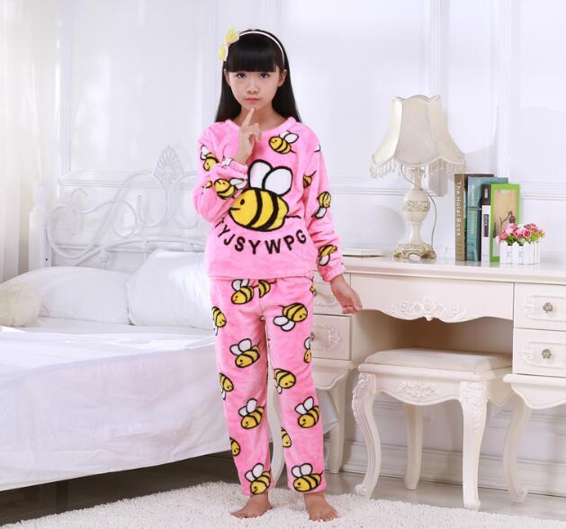 Winter Kinderen Pyjama Lange Mouwen Cartoon Kids Flanel Warm Jongens Meisje Kleding Pak Mooie kinderen Kledingstuk Thuis Kleding YU