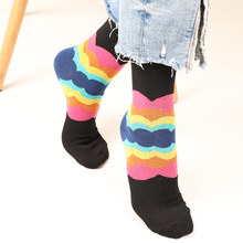 Man Fashion Hip Hop Stripes Happy Funny Socks Art Harajuku Crew Socks Gradient Color Style Cotton Rainbow Socks Men Street Style цены