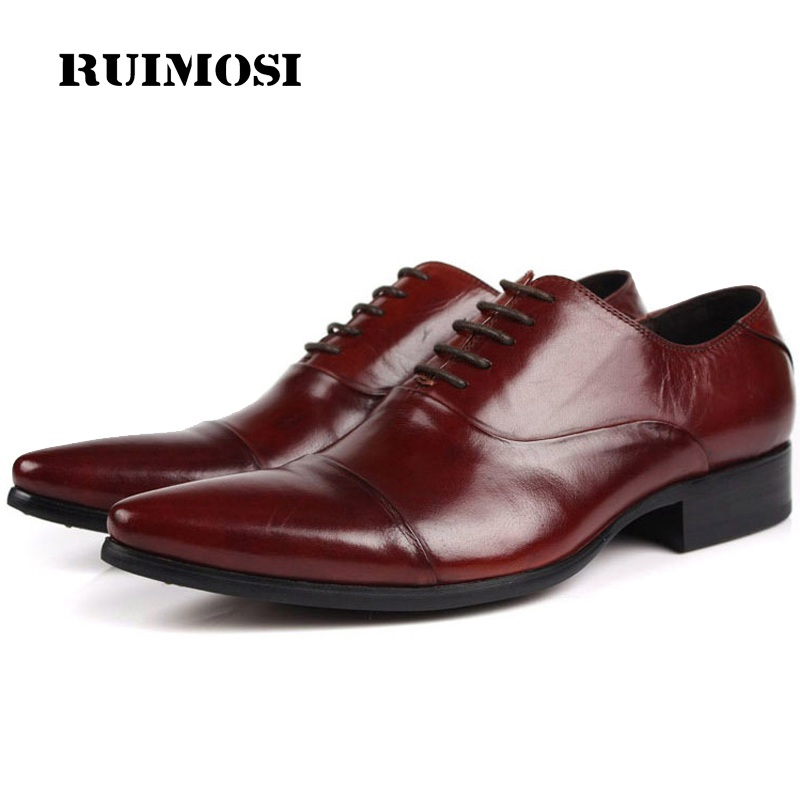 RUIMOSI Luxury Brand Man Dress Wedding Shoes Genuine Leather Cap Top Oxfords Pointed Men's Handmade Male Flats For Bridal FG84