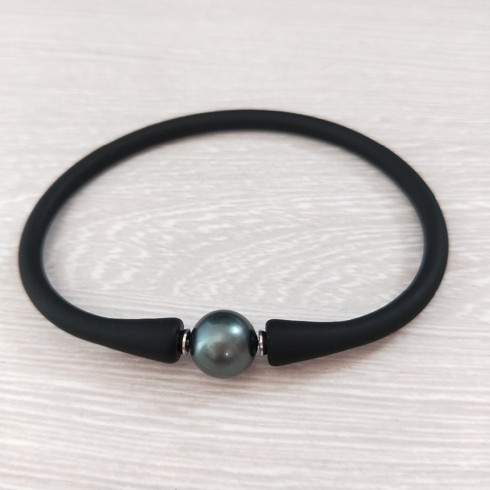 Nareal Fashion Casual Sporty Black Silicon Spring Cord Shell Pearl Bracelet  For Women Or Men Gift