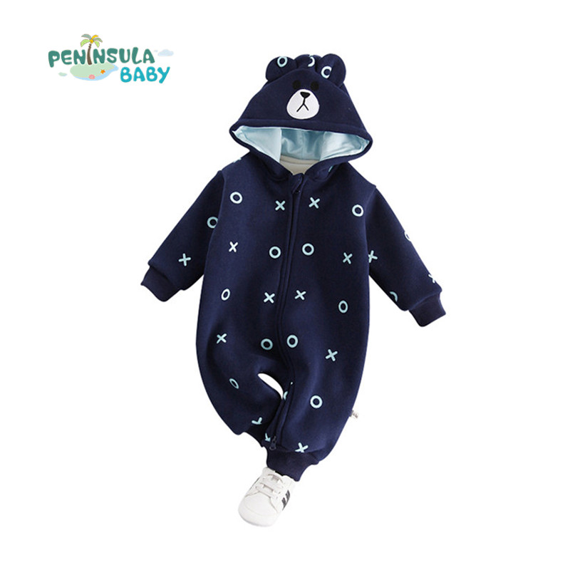 Baby Boy Girl Cute Romper Long Sleeve Outwear Cotton Cartoon Bear Infant Casual Jumpsuit Newborn Hooded Thicker Winter Clothes newborn infant baby girls boys rompers long sleeve cotton casual romper jumpsuit baby boy girl outfit costume
