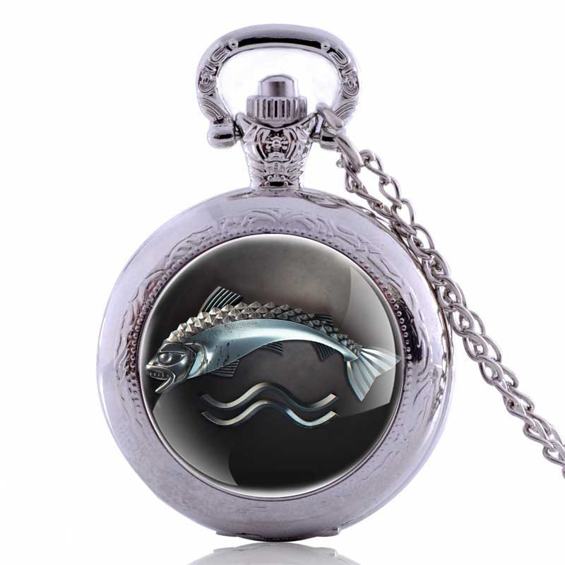 Vintage Pocket Watches Fishing Fish Fob Watch Relogio Masculino For Man Woman Clock Nurse Watch Birthday Gifts
