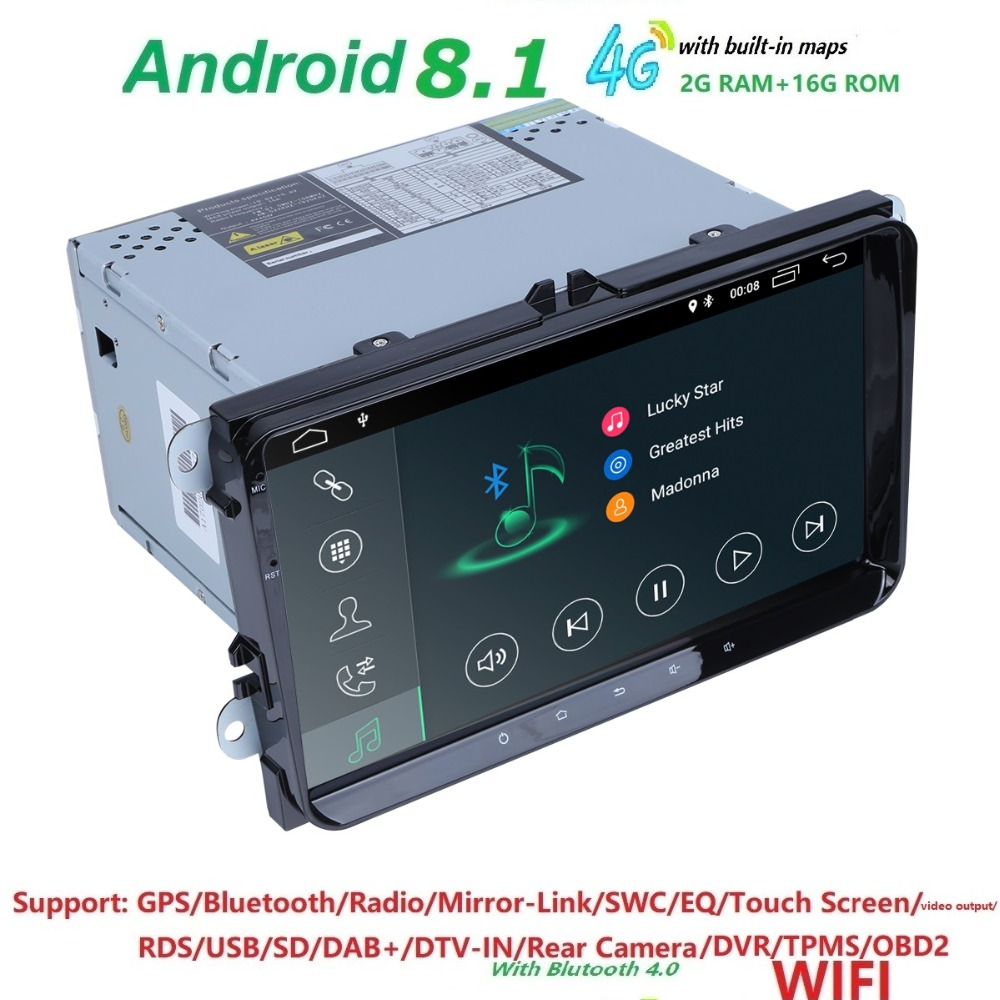 Android8.1 voiture AutoAudio pour V W Volkswagen S KODA GOLF 5 Golf 6 POLO PASSAT B7 T5 CC J ETTA TIGUAN gps lecteur de navigation stéréo