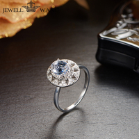 Jewellwang 18K White Gold Rings for Women Oval Cut Real Original Design Moissanite Rings Diamond Side Stone Flower Engagement
