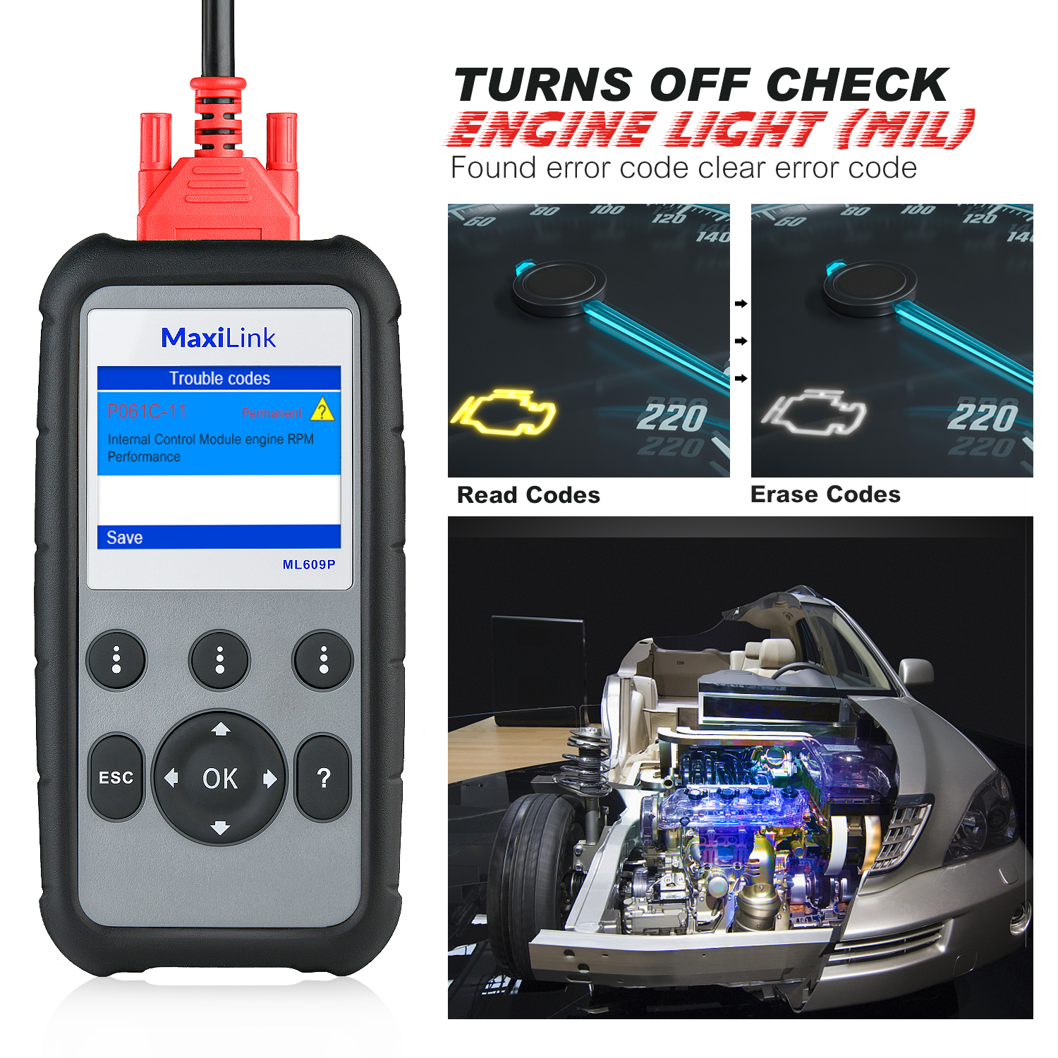 Image 5 - Autel MaxiLink ML609P Auto Car obd2 Scanner diagnostic tool Code Reader OBD2 connector stethoscope Scan Tool airbag simulator-in Engine Analyzer from Automobiles & Motorcycles