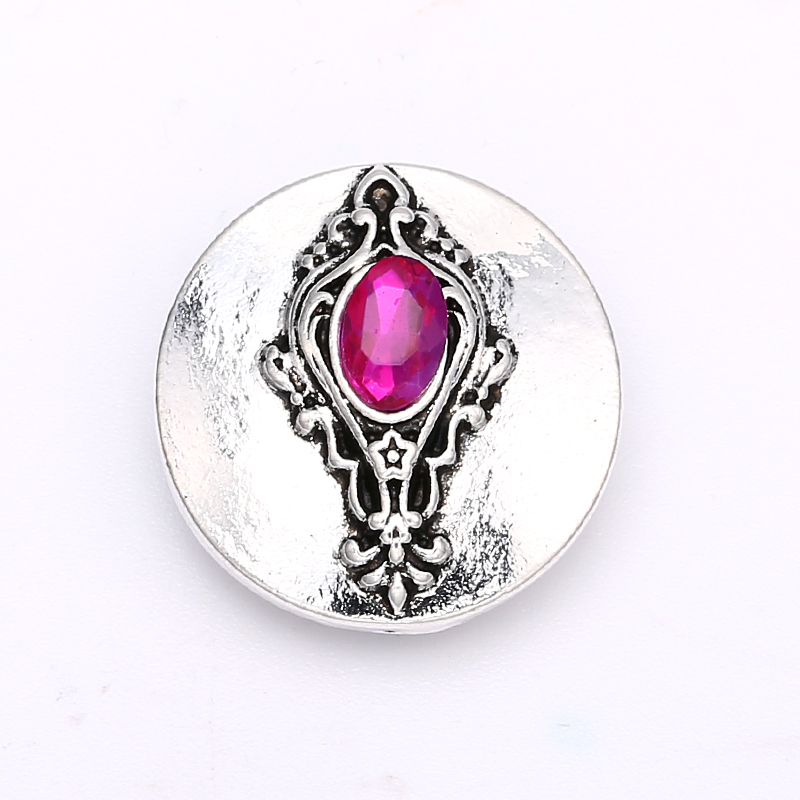 Metal Carved Magic Mirror Crystal Press Buttons fit 18-20mm DIY Snap Bracelet Buttons Jewelry
