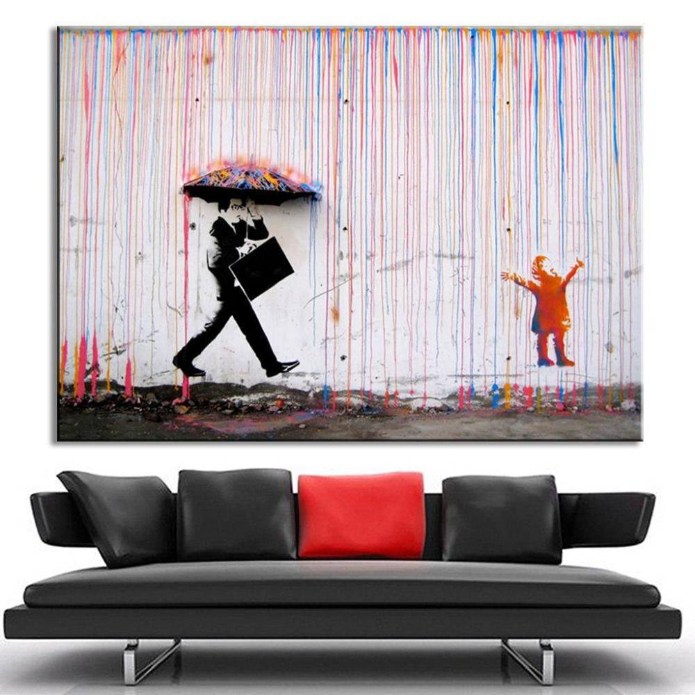 Banksy Colorful Rain Living Room Abstract Figure Oil Painting Hand Painted On Canvas Modern Wall Home