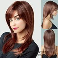 Heat Resistant Synthetic burgundy wig natural straight brown Long layered  Hair Wigs with side bangs for Women party Wigs peluca