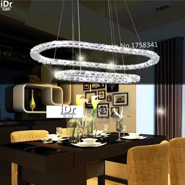 Modern Living Room Chandelier Crystal Stainless Steel Oblong Bedroom Lights LED Energy Saving