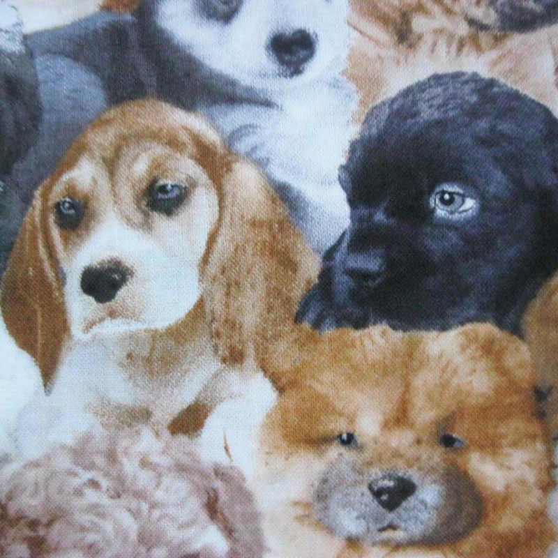100/% Algodón Cepillado Tela Impresión Perro//Doghouse