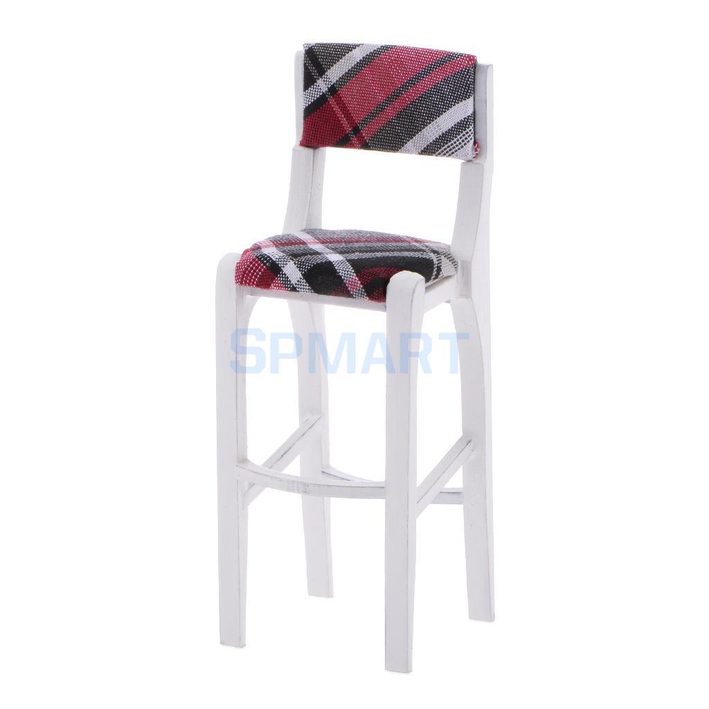 Dollhouse Miniature Furniture White Wooden Bar Stool Breakfast Kitchen Pub High Chair 1 12 Scale