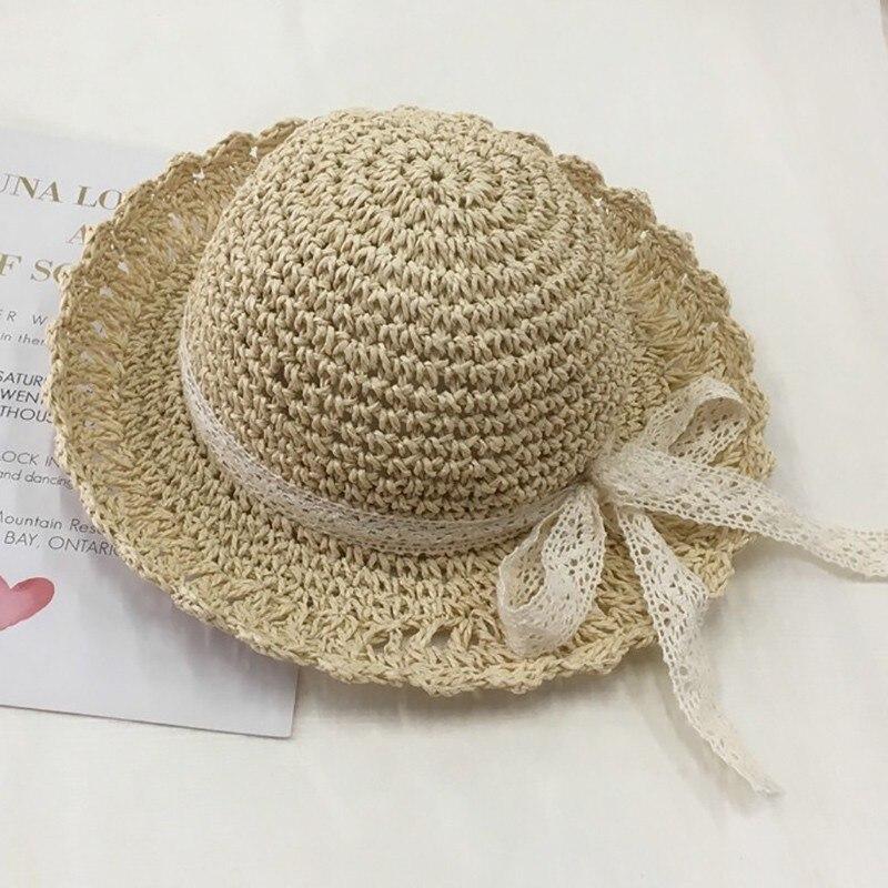 Fashion Baby Kids Girl Wide Brim Lace Straw Hat Cute Breathable Summer Beach Cap