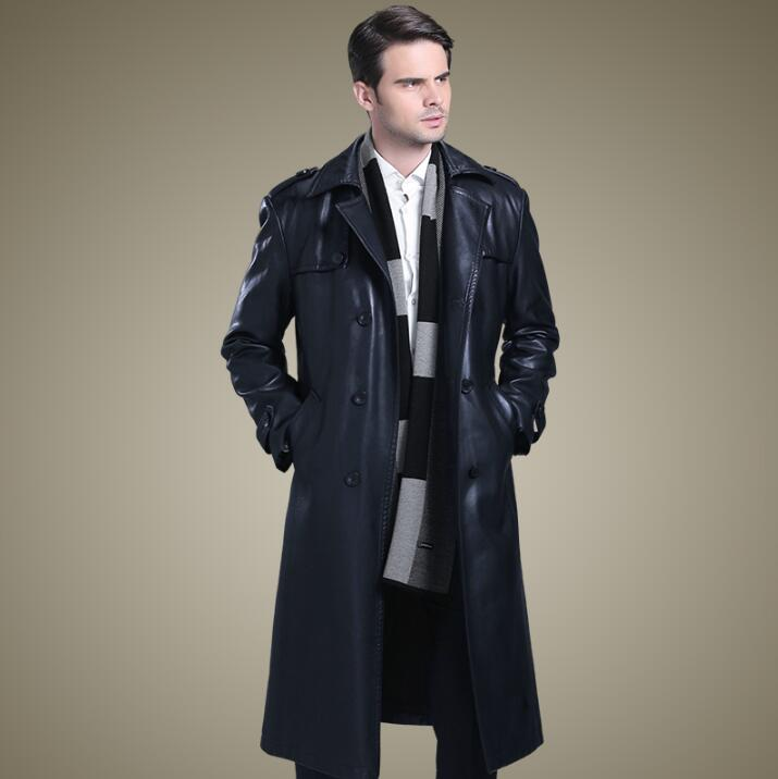 Double breasted leather coats men suits collar long coat mens leather trench coats thicken black autumn winter fashion M 4XL