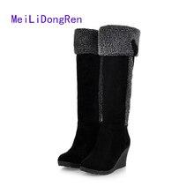 2017 New Fashion Women Round-heeled Suede Boots Winter Platform Wedges Warm Boots Thong High Boots Botas Femininas
