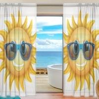 Cartoon Sheer Door Curtain Panels Cool Sun Wear Sunglass Window Curtains Voile Sheers 2 Panels Set for Living Room Bedroom