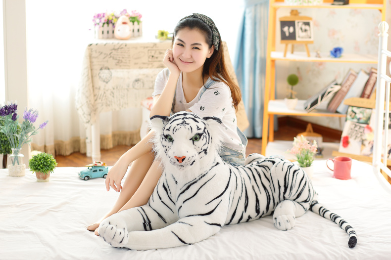 large 105cm simulation white tiger plush toy throw pillow Christmas gift h2837 huge 105cm prone tiger simulation animal white tiger plush toy doll throw pillow christmas gift w7973