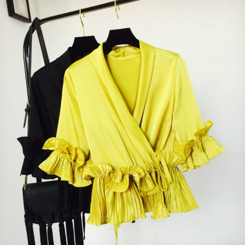 Sweet V-neck Bow Chiffon   Shirts   3D Flowers pleated ruffled Lace   Blouses   Women three quarter Butterfly Sleeved Ribbon tie Tops
