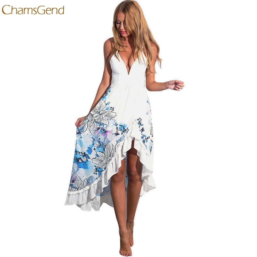 CHAMSGEND Trendy Style Fashion Women Girl Dress Sexy Women Female Summer Boho Long Maxi Party Dress Beach Sundress Gifts