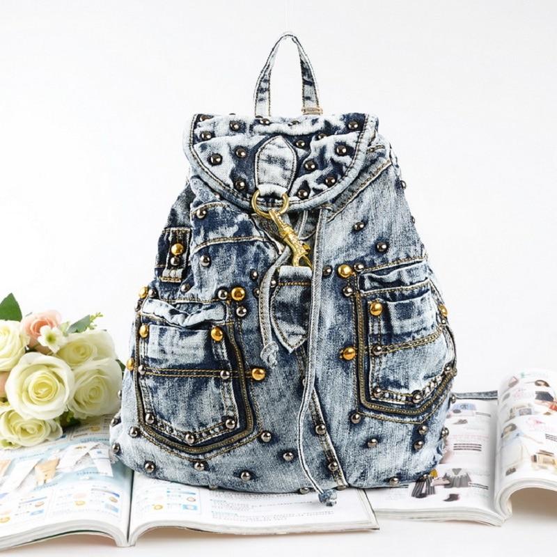 Blue Vintage Casual Backpack Preppy Style Rivet Denim  School Bags Jeans Women Daypacks CrossBody bag bolsa feminina 3701-2