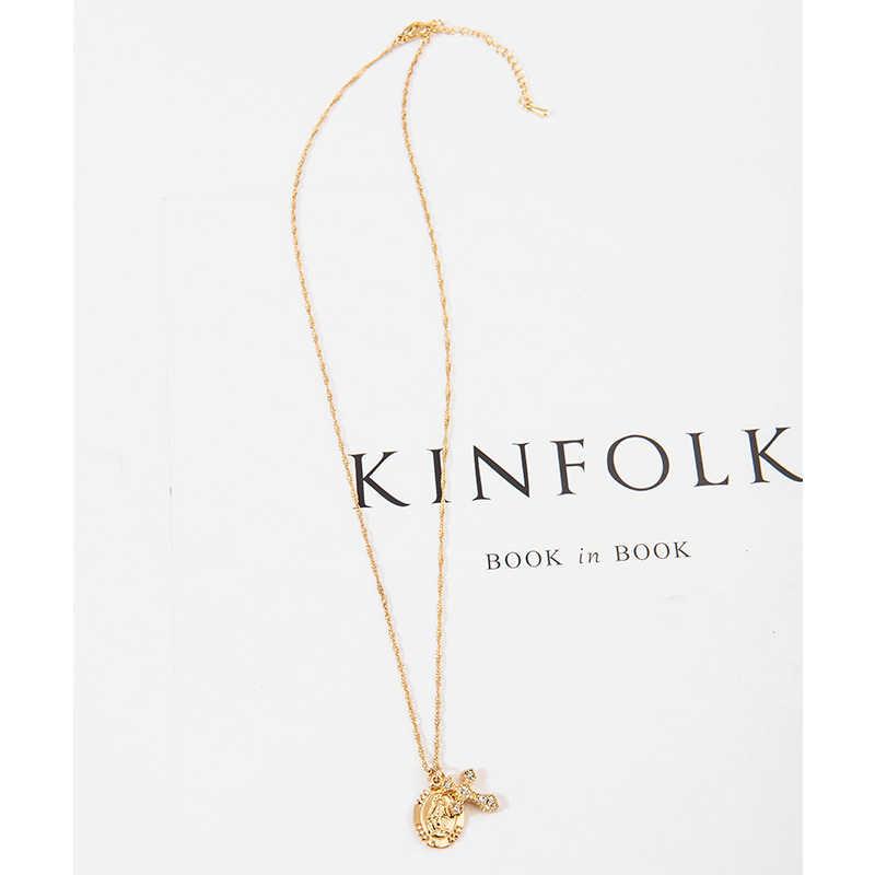 Wild & Free Девы Мэри крест кулон цепочки и ожерелья для женщин обувь девочек Золото Цвет Colar колье-цепь дамы ювелирные изделия