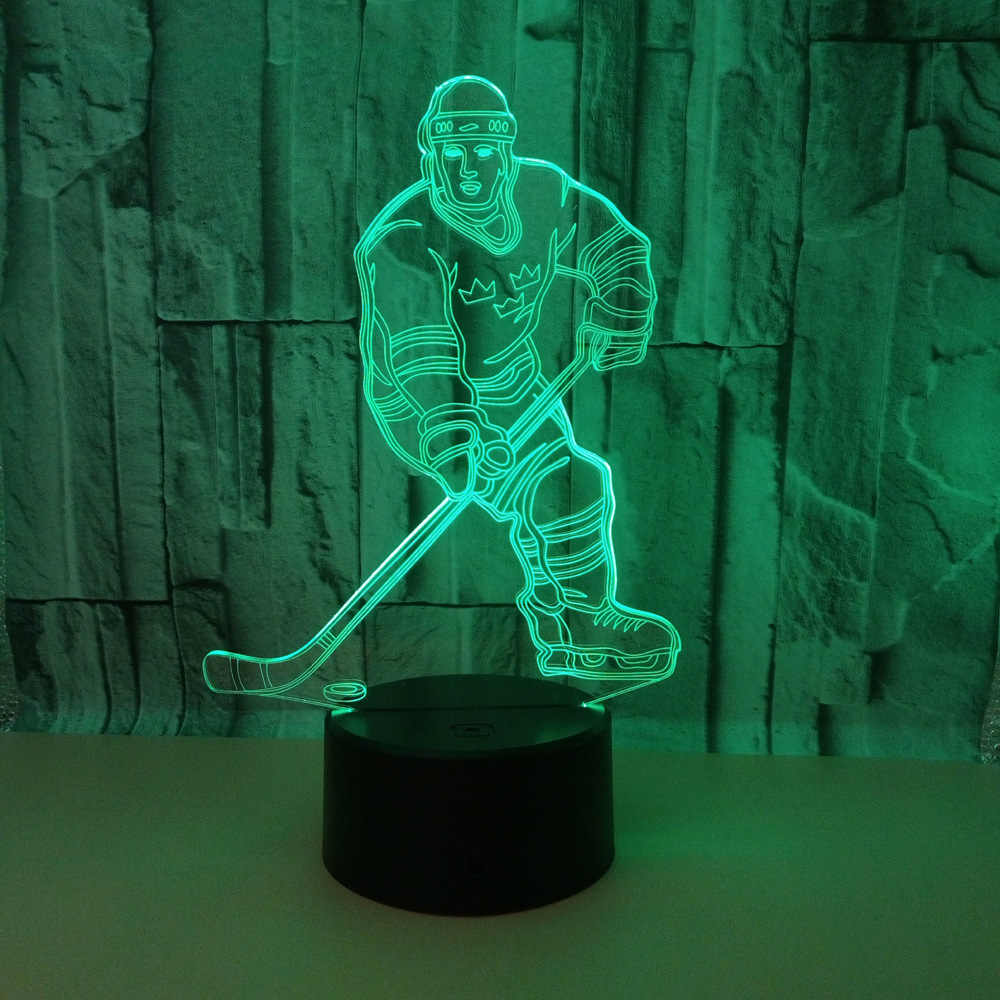 New Hockey Player 3d Lamp Led Seven Colour Remote Control 3d  Desk Lamp Acrylic Stereo Vision Table Lamps For Living Room
