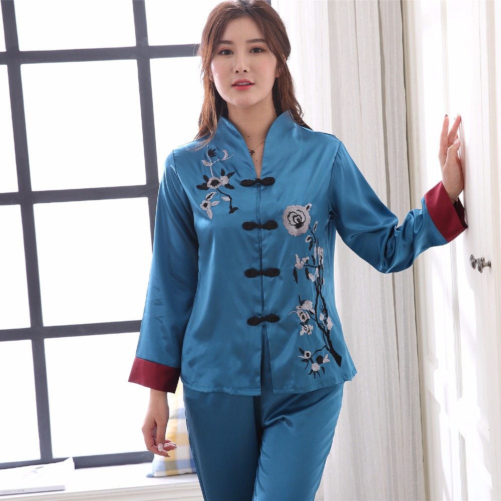 2019 New Blue Female Satin   Pajamas   Suit Hot Sale Chinese Women 2PCS Sleepwear Nightwear Embroidery Flower Pyjama   Set   M-3XL