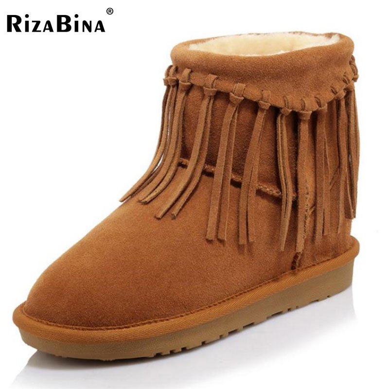 RizaBina Size 34-43 Women Real Leather Mid Calf Snow Boots Female Tassels Thick Platform Warm Fur Flat Botas Cold Winter Shoes double buckle cross straps mid calf boots