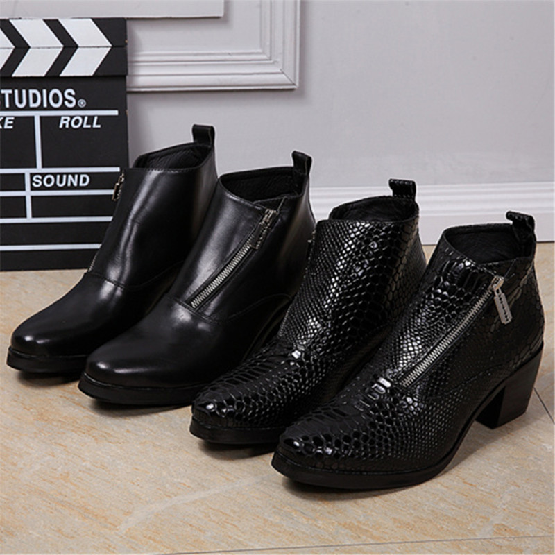 OKHOTCN New Fashion Black Mans footwear High Heels Ankle Boots Men Dress Shoes Bota Masculina Genuine Leather Chaussure Homme fashion genuine leather mens ankle boots pointed toe lace up wedding dress shoes safety shoes men military boots mans footwear