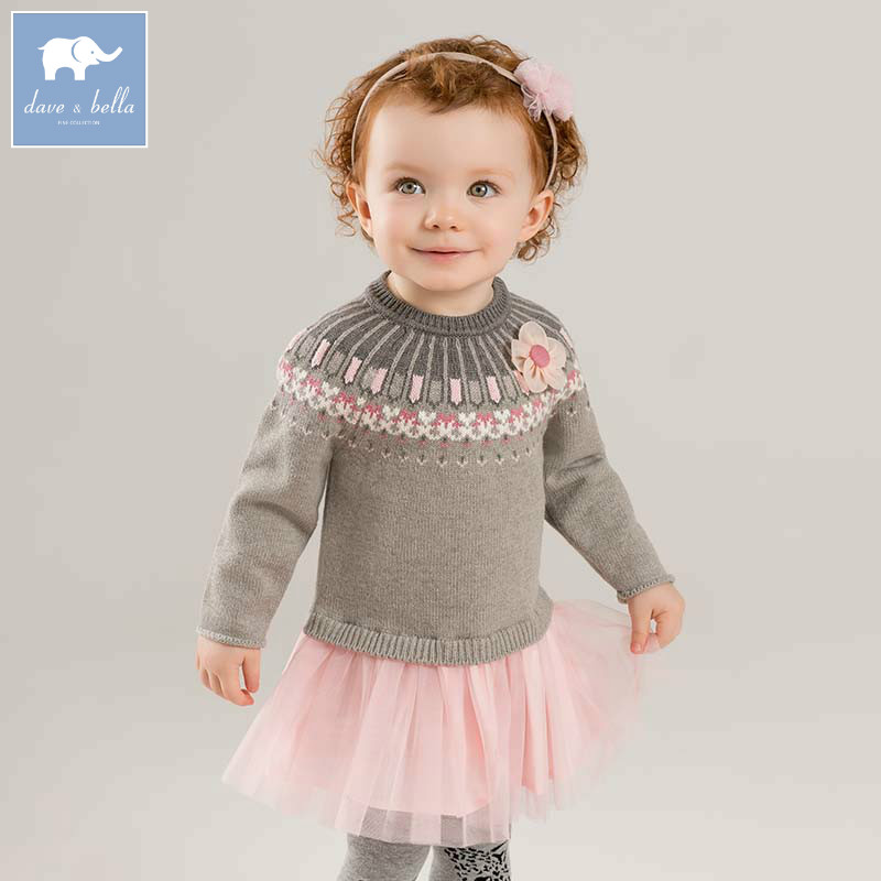 DB8206 dave bella autumn baby Knit Dress children long sleeve dresses kids high quality Knitted dress high waist bandage long sleeve dress