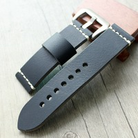 24MM 26MM Black Watchband Men Strap Watch for Panerai Handmade Genuine Leather Watch band Universal watch band