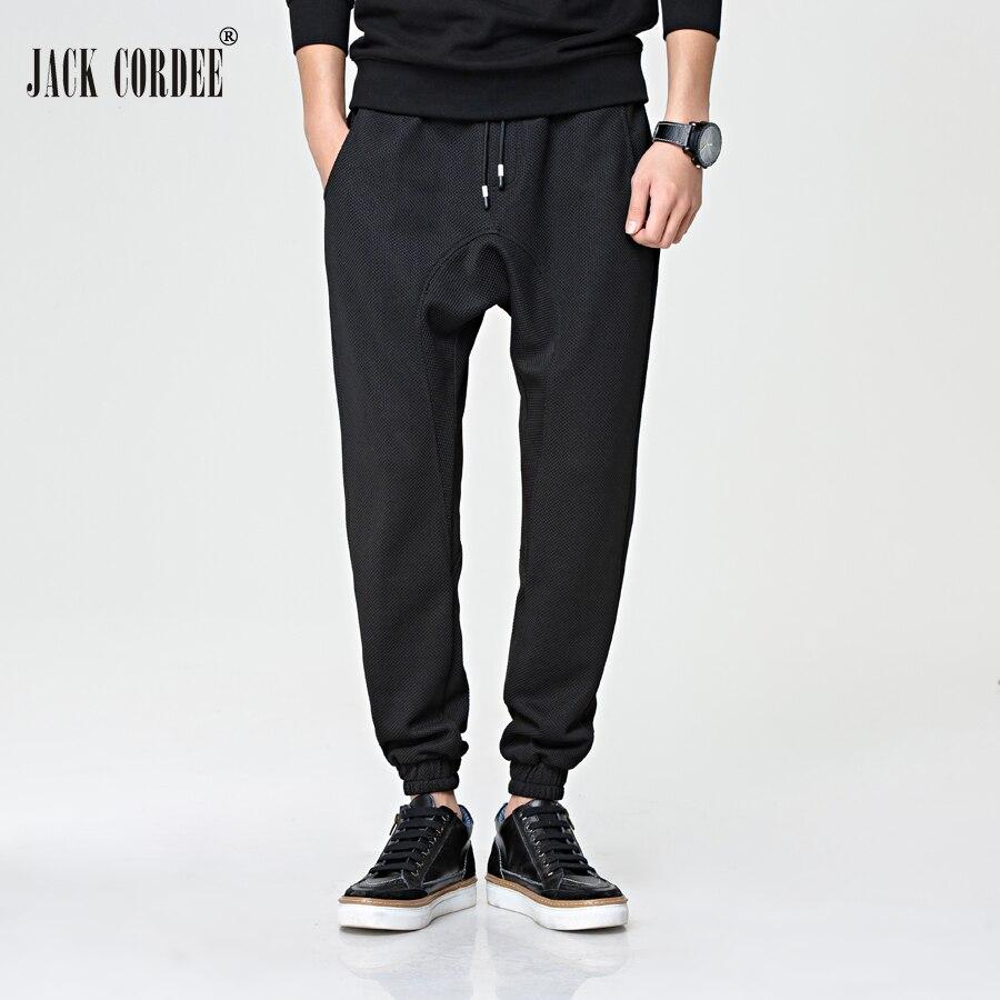 JACK CORDEE Brand Men Pants Hiphop Harem Joggers Pant Solid Black Big Pocket Cotton Casual Sweatpants