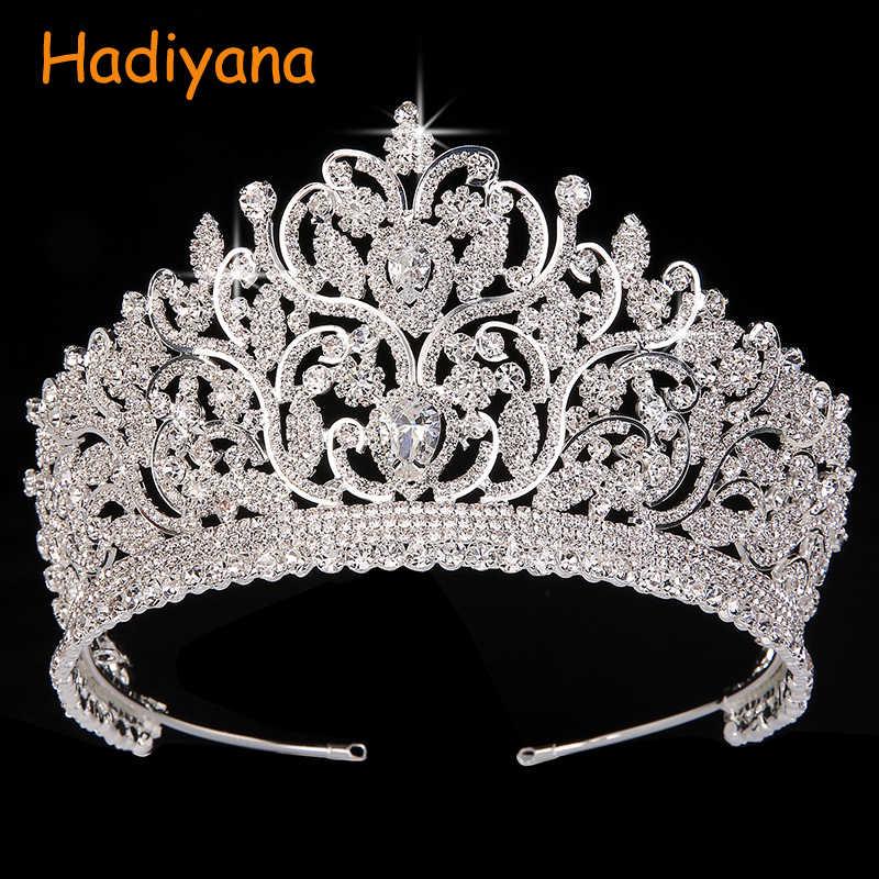 Couronne Hadiyana cheveux Bijoux Vintage Totem grands diadèmes et couronnes AAA CZ luxe strass mariage cheveux accessoires BC3801 Bijoux
